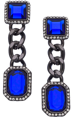 Blu Bijoux Sapphire Crystal Gunmetal Double Drop Earrings
