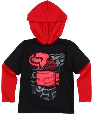 Fox Spliced Up 2Fer Hoodie (Little Kids) (Black) - Apparel