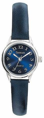 Women's Carriage by Timex Watch with Leather Strap - Silver/Blue C2A871TG $36 thestylecure.com