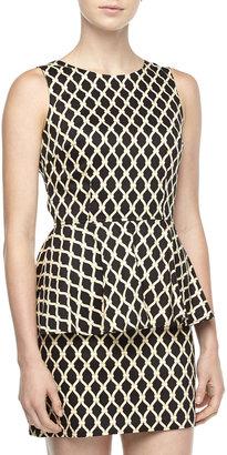 Julie Brown JB by Kathleen Net-Print Peplum Dress, Black/Gold