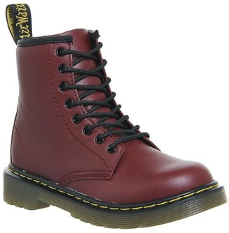 Dr. Martens Junior Lace Up Boots Inside Zip Delaney Cherry Red Leather