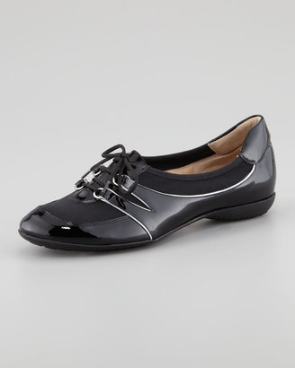 Sesto Meucci Bonnie Patent Leather Lace-Up Slip-On Sneaker, Black