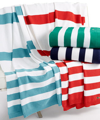 Lacoste Striped Knit Throw