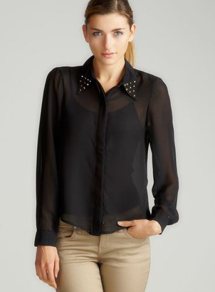 Ali & Kris Long Sleeve Sheer Button Down Blouse In Black