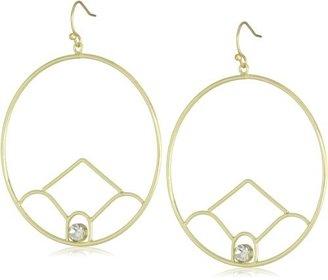 Flying Lizard Designs Gold Circle Flower with Single Rhinestone Earrings