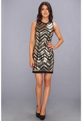 Vince Camuto Chevron Sequinned S/L Shift Dress Women's Dress