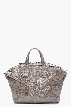 Givenchy Grey Patent Pebbled LEather Micro Nightingale Tote