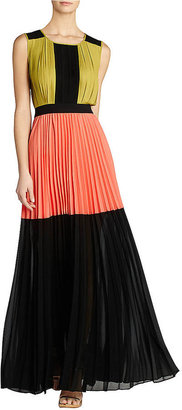 BCBGMAXAZRIA Katherine Color-Blocked Pleated Maxi Dress