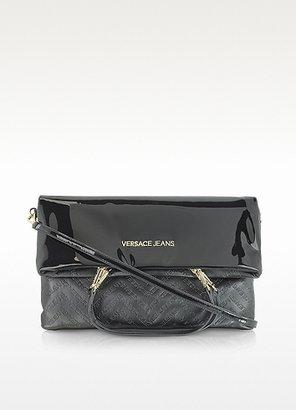 Versace Black Patent Eco Leather Foldover Shoulder Bag