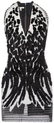 Antonio Berardi Flocked Airtex Embroidered Mini Dress