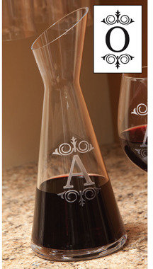 Bed Bath & Beyond Monogrammed 34-Ounce Angle Cut Glass Carafe - O