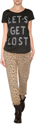 Current/Elliott Cotton Sweatpants in Camel Leopard