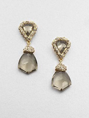 Alexis Bittar White Quartz, Smokey Quartz and Pyrite Shield Earrings