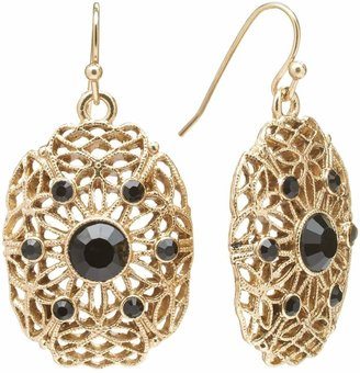 1928 Gold Tone Simulated Crystal Filigree Oval Drop Earrings