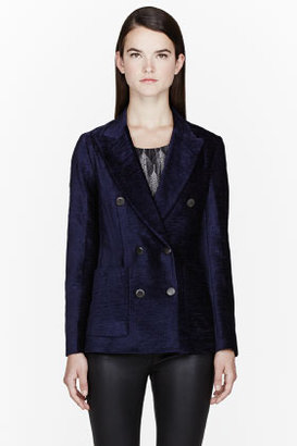 3.1 Phillip Lim Navy Chenille Double Breasted Left Bank Blazer