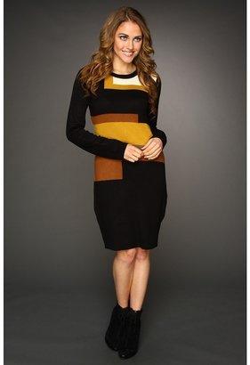 Vince Camuto Long Sleeve Sweater Dress (Black/Multi) - Apparel