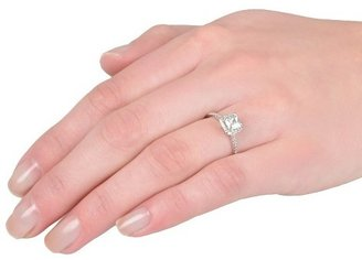 Journee Collection Tressa Collection Square Cut Cubic Zirconia Pave Engagement Ring in Sterling Silver