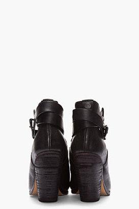 Rag and Bone RAG & BONE Black Leather Belted Harrow Boots