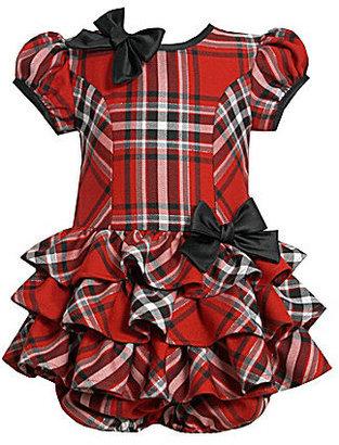 Bonnie Baby Newborn Plaid Drop-Waist Dress with Panty