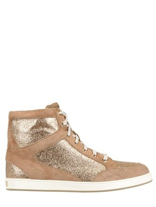Jimmy Choo 20mm Tokyo Suede And Glitter Sneakers