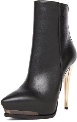 Lanvin Gold Heel Bootie in Noir