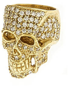 Jessica Kagan Cushman Brass Skull and Crystals Ring