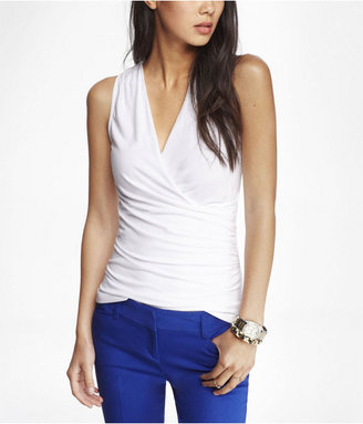 Express Fitted Surplice Wrap Top