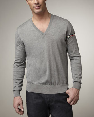Moncler Flag-Sleeve Sweater, Heather Gray