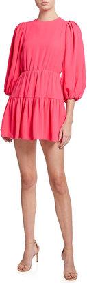 Alice + Olivia Shayla Pleated-Sleeve Tiered Mini Dress