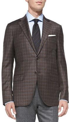 Ermenegildo Zegna Check Two-Button Jacket, Brown $2,395 thestylecure.com