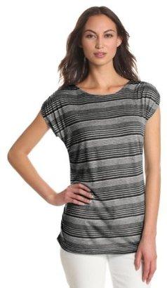 Leo & Nicole Women's Missy Short Sleeve Scoop Neck Stripe Tee With Side Ruching