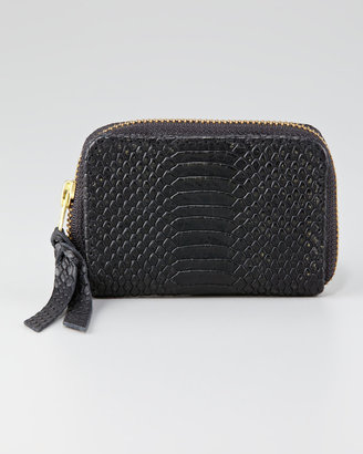 Cynthia Vincent Snake-Embossed Coin Wallet, Black