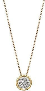 John Hardy Bamboo 18K Gold and Diamond Pave Small Round Pendant Necklace, 16