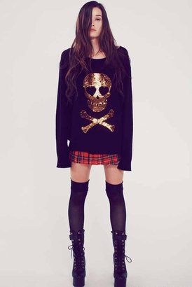 Wildfox Couture Love Skull Crewneck Sweater in Clean Black