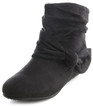 Charlotte Russe Sueded Bow Wedge Ankle Bootie