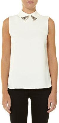 Dorothy Perkins Ivory embellished collar top