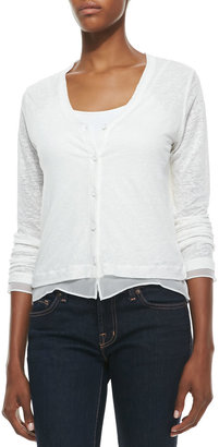 Neiman Marcus Majestic Paris for Button-Down Cardigan with Chiffon Trim