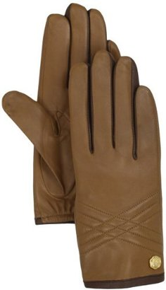 Vince Camuto Women's Quilted Contrast Leather Glove, Brown, Large
