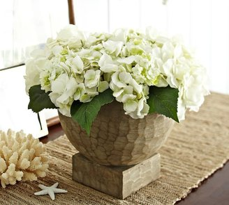 Pottery Barn Faux Hydrangea Arrangement in Hand Carved Wood Vase