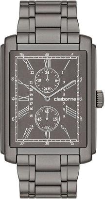 Claiborne Mens Rectangular Dial & Gunmetal Bracelet Multifunction Watch