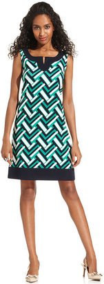 Jessica Howard Dress and Cardigan, Sleeveless Scroll-Print Shift