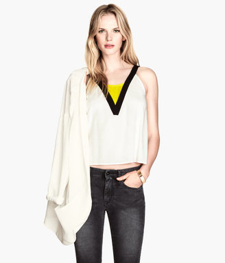 H&M Tank Top in Woven Fabric - White - Ladies