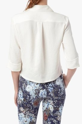 7 For All Mankind Short Sleeve Blouse With Long Pocket In Blanc De Blanc