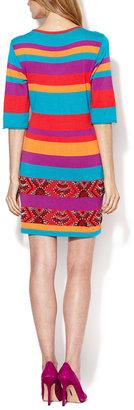 Nanette Lepore Wah Wah Embellished Stripe Knit Dress
