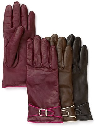 Bloomingdale's Contrast Piped Leather Gloves