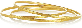 Gurhan Set of three hammered 24-karat gold bangles