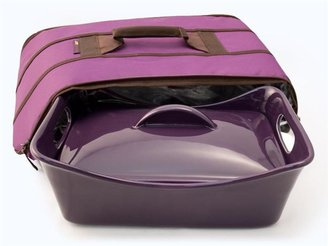 Rachael Ray Stoneware Covered Baker with Bonus Insulated Carrier, Eggplant