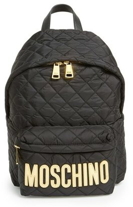 Moschino Quilted Nylon Logo Backpack - Black $595 thestylecure.com