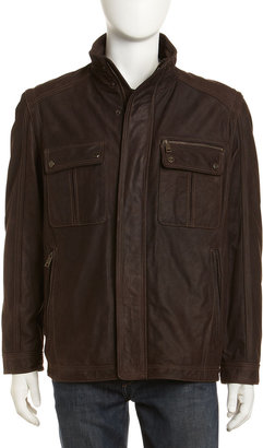 Marc New York Ballard Filled Leather Jacket, Dark Brown