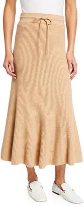 St. John Dune Ribbed Wool-Cashmere Skirt